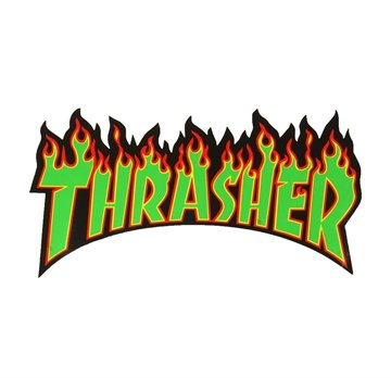 Thrasher Sticker Flame Medium Green lettering
