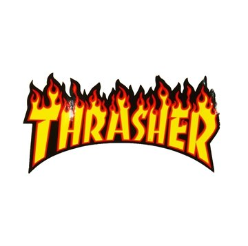 Thrasher Sticker Flame Medium Yellow lettering
