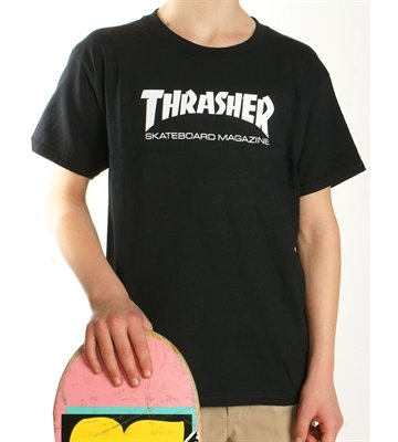 Thrasher tee Junior logo sort 299,-