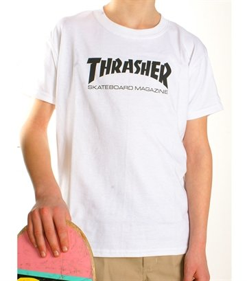 Thrasher tee Junior Flame logo hvid 299,-