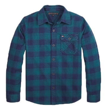 Tommy Hilfiger Boys Flannel Check Shirt Atlantic Deep