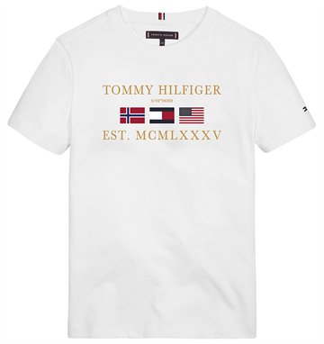 Tommy Hilfiger Boys Flags Alpine Tee Bright White