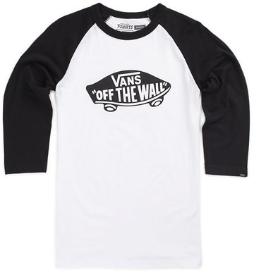 Vans t-shirt off the wall baseball hvid med sort.