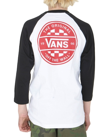 Vans T-shirt Raglan Checker co White / Black