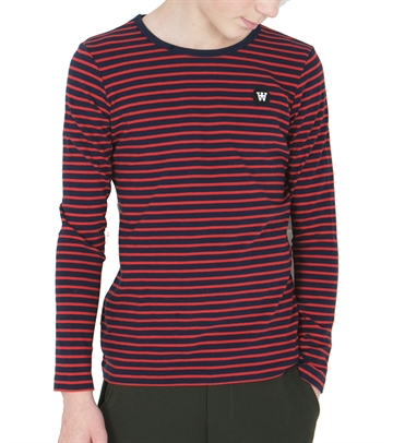 Wood Wood Double A L7S T-shirt Kim Navy/Red Stripes