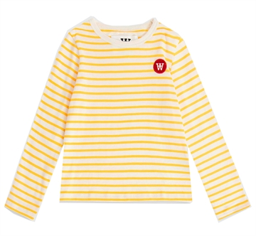 Wood Wood Double A L7S Tee Kim Offwhite/Yellow Stripes