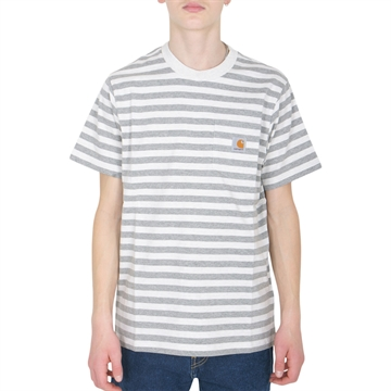Carhartt T-shirt Scotty Pocket Stripe White Heather