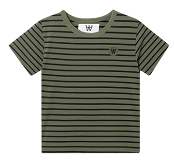 Wood Wood Double A Ola Tee 5713-2222 Army/Black Stripes