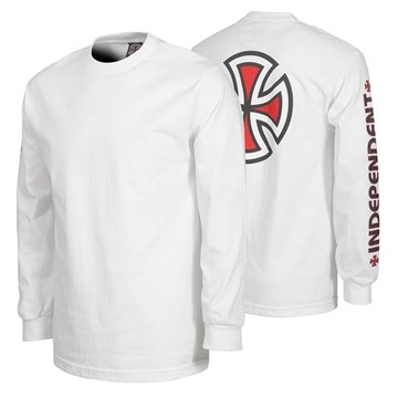 Independent T-shirt Adult l/s Bar Cross White