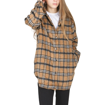 On Me Shirt Dress Checkered 19-0508 Brown/Camel