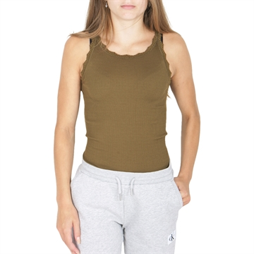 Rosemunde Silk Top W/ Lace Military Olive 59159