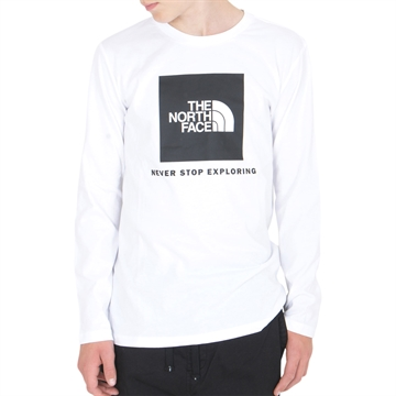 The North Face New LS Box Logo Tee White