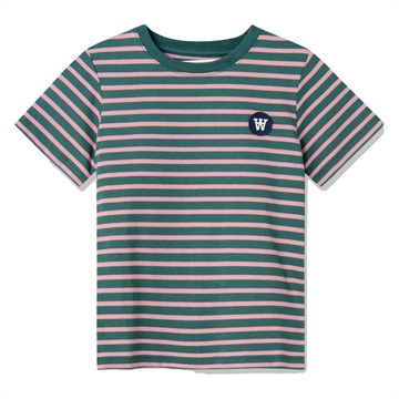 Wood Wood Double A Ola Tee s/s 5713-2222 Faded Green/Rose Stripes